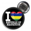 Button - I LOVE REPUBLIC OF MAURITIUS -